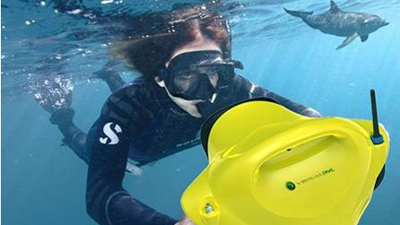 """La console """"Dolphyn"""" permet de simuner en piscine une exploration des fonds marins, ou d'apporter des informations supplémentaires lors d'une véritable plongée en mer."""