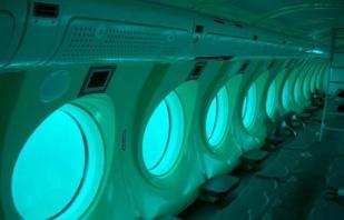 Vue de l'intérieur du sous-marin.