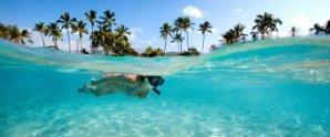 Snorkeler on the Big Island, Hawaii. Near Kona.